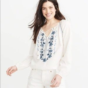 ABERCROMBIE | Cotton Embroidered Peasant Blouse L